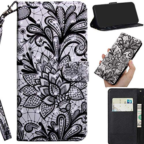 Robinsoni Custodia Compatibile con Nokia 2 Case Portafoglio Nokia 2 Cover Libro Case Pelle PU Antiurto Case Wallet Caso Taccuino Cover Custodia Libretto Cartone Animato Case Flip Cover,Fiore Di Pizzo