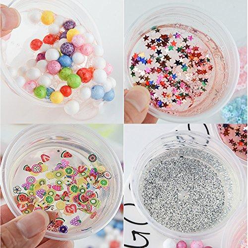 FEPITO 35 pcs Slime Kit per la preparazione fai da te di melma giocattolo, con perline schiacciate, palline di schiuma, glitter, coriandoli, contenitori, utensili per la melma 5