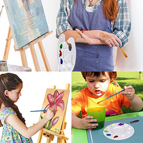 Finegood 16pz per bambini tempera Paint Brush set con 4vernice vassoio palette, punta arrotondata e piano Hog setola pennello per bambini studenti principianti artista 5