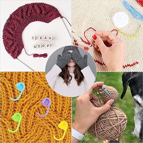 Gifort Ganci di Crochet, Uncinetto Sets Ferri da Maglia, Essential Crochet Set con Gomma Colorata Impugnatura Ergonomica