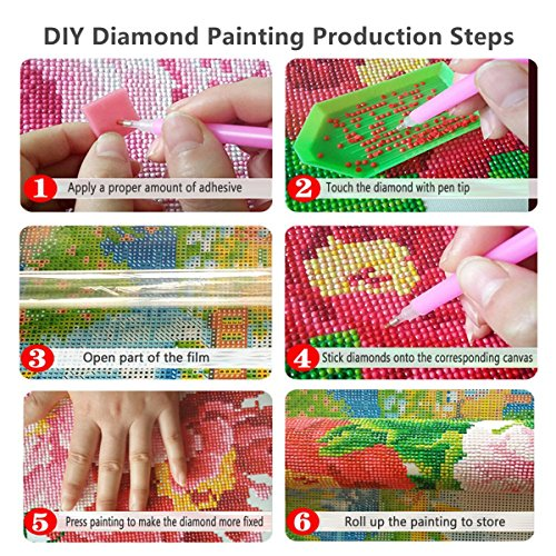 5D Diamond Painting kit completo drill DIY strass ricamo a punto croce Craft Arts for home Wall Decor Colorful Lotus 30x 40cm,pittura diamante diy 7
