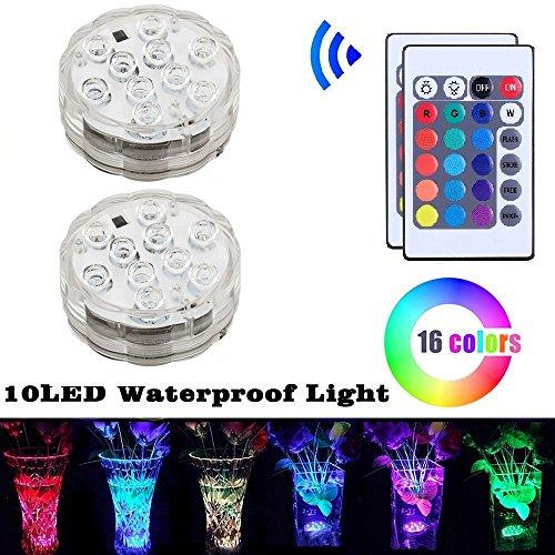 Allescool Luci sommergibili a LED ,Luce Subacquea con Telecomando RGB ,Mini Vaso Floreale Base Luce, Multicolor Pond Nuoto Decorazione con Decorazione di Partito 2 pezzi (galleggiante)