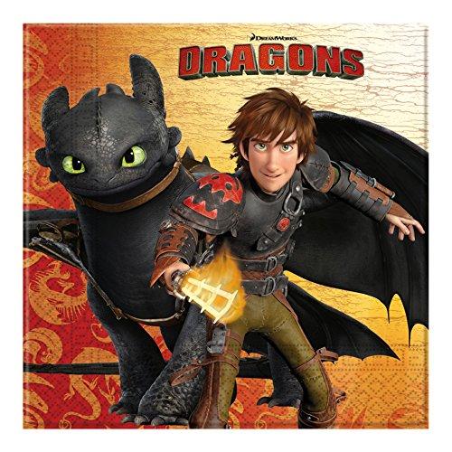 """Tovaglioli di carta della serie""""Come addestrare un drago"""", confezione da 20 pz."""
