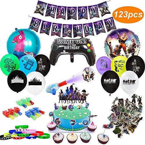 Kit Di Forniture Per Feste Di Compleanno Per Gli Appassionati Di Giochi 123 Pezzi Decorativi Per Party A Tema Giochi-Sono Inclusi Palloncini, Striscione, Braccialetti, Luci Per Dita, Adesivi
