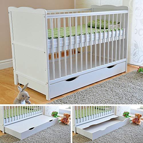 Bianco lettino di legno per bambini con il cassetto + Materasso di lusso Aloe Vera + Tre posizioni di altezza + Sponda con gengivale 2