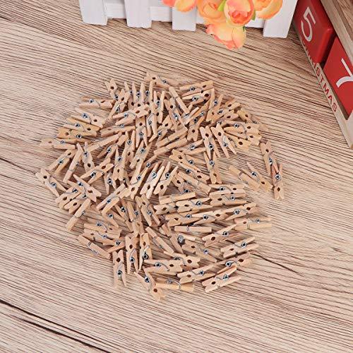 Pixnor Mollette legno con primavera, 100-Pack, 0,98-pollici di lunghezza 9