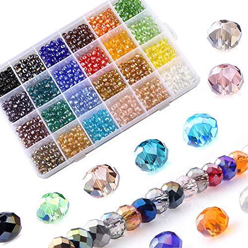 LABOTA 1200pz 6mm Perline Cristallo Sfaccettato, Perline di Vetro AB Sfaccettate con Scatola per Braccialetti, collane, Gioielli, progetti Fai da Te