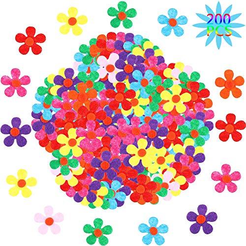 BESTZY Fiori in Feltro per Fai da Te 200pcs Fiori di Feltro Decorativi Fiore di Feltro in Tessuto Decorazioni per Artigianato Fai da Te Colori Assortiti