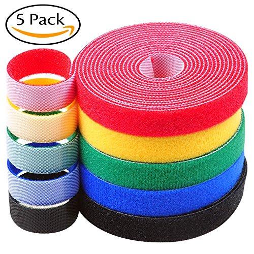 5 rotoli / 5 multicolore, legami con cinghie in velcro Cinghie di velcro autoadesive attacco di nylon riutilizzabile Organizzatore di nastri a nastro Ideale per un utilizzo versatile nella gestione de