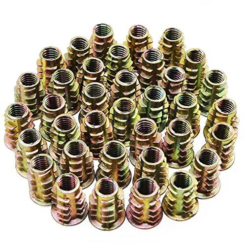 Hseamall 50PCS M6 Dadi esagonali in lega di zinco Dadi filettati Inserti filettati per mobili in legno