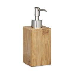 Relaxdays Portasapone Liquido in bambù Squadrato, Manuale, Dispenser per Lozioni, Legno, Marrone, 18 x 6,5 x 8 cm