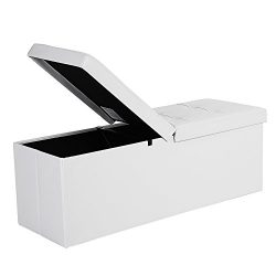 SONGMICS Pouf Panca Ottomana Pieghevole Contenitore Cubo Portaoggetti di 120 Litri con Coperchio Ribaltabile Bianco 110 cm LSF75WT