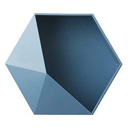 FBGood – Mensola/cornice da parete geometrica, industriale, vintage, ovale e arrotondata, per camera da letto, cucina, libreria, soggiorno o bar, per libri, CD e DVD, blu, Blu