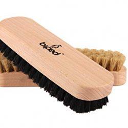 biped Set di 2 pezzi – Spazzola per scarpe in legno di faggio con setole naturali – per la pulizia o per la lucidatura z2345 (1 x luminosi / 1 x scuro) 2