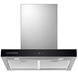 CIARRA, Cappa Aspirante Cucina 60cm Acciaio Inox, 550 m3/h Potenza di Aspirazione, 3 Livelli di Velocità Controllo Touch LED, Scarico Esterno/Ricircolo Filtro per CBCF003, Argento 2