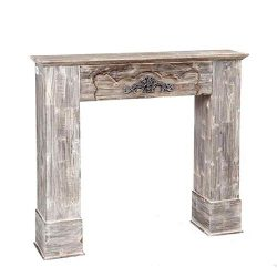 Cornice per finto caminetto camino in legno anticato arredo vintage bw15/c002