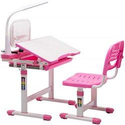 gengxinxin Tavolo ergonomico, Lampada e Sedia Rosa, Altezza della Piastra reclinabile Regolabile su più Livelli 2