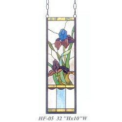 """Gweat HF-05 Rurale Vintage Tiffany Style Macchiato Chiesa di Vetro Decorativo Fiori rettangolo Finestra Appeso Pannello di Vetro Suncatcher, 32""""Hx10 W"""