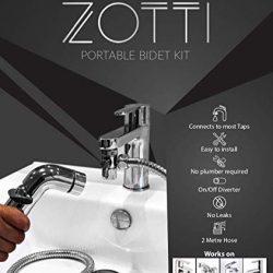 Zotti, spruzzatore portatile da viaggio Shattaf per bidet, si collega al rubinetto miscelatore, kit doccia, doccia musulmana, tubo da 2 metri, deviatore a 2 vie