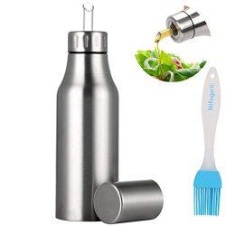 Nifogo Bottiglia di Olio – Olio e Aceto Dispenser Acciaio Inossidabile, Prova della Polvere EA Prova di Perdite con Beccuccio Oliera Bottiglia, Utensile da Cucina (750ml+Pennello Olio)