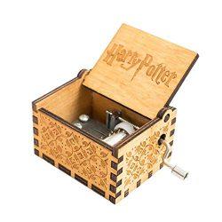 Alittly Harry Potter Wood Music Box, manovella 18 note antico incisione laser in legno musicale Boxs artigianato per compleanno/regalo di Natale