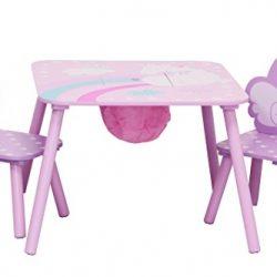 IB-Style – Salottino per bambini UNICORN | 3 combinazioni | 3 pezzi: Set composto da tavolo per bambini, 2 sedie – Set di mobili per bambini con cassapanca