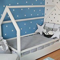 letto & casa in legno stile scandinavo nordico bambino cameretta 160×80 + sponda (colore: bianco)