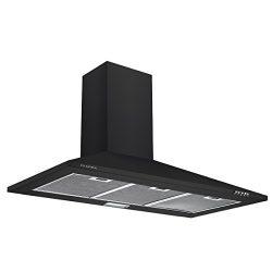 Ciarra, cappa con aspiratore, da cucina, 90cm, in acciaio INOX (nero)