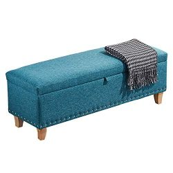 JQQJ Cassapanca Sgabello Cotone e Lino Bagagli Ottomani Piedi Panche Riposo Seduta Sgabello con la Spugna di riempimento Sgabello da Divano (Color : Royal Blue, Size : 60x40x42cm)