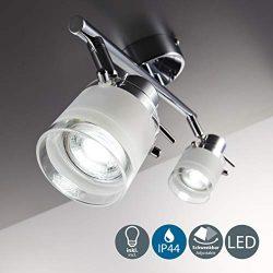 Faretti LED da soffitto orientabili I plafoniera moderna per bagno resistente agli spruzzi d'acqua I 2 luci I vetro e metallo cromato I incl. lampadine 2 x 5 W I 230 V I GU10 I IP44