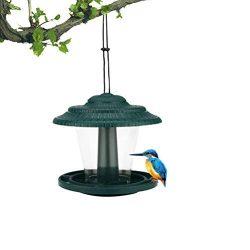 Mangiatoia per Uccelli Automatica, Mangiatoia per Uccelli Selvatici Sospesa a Forma di Casa, Stazione di Alimentazione per Uccelli, Contenitore per Alimenti per Uccelli per Giardino ed Esterno