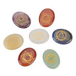 Hztyyier Guarigione di Cristallo 7 Pezzi Chakra Pietre incise spiritualità guarigione Meditazione Piccole Pietre Reiki bilanciamento