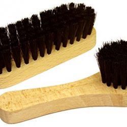 DELARA Piccola spazzola per le scarpe con setole naturali e spazzola per la crema. Completo di due pezzi. Colore: nero