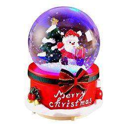 Christmas Crystal Ball Gifts – Palla di Neve Natalizia, Carillon Musicale con Babbo Natale e Pupazzo di Neve