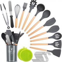 NEXGADGET Set di 30 Utensili da Cucina in Silicone Naturale, con Manici in Legno, Set di Spatole Antiaderenti, Utensili da Cucina, Elettrodomestici da Cucina, con Supporto, Ganci, Spazzola