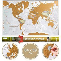 Mappa del mondo da grattare e idee regalo – Extra large – 84 x 59 cm – Maps International – Da più di 50 anni nel settore delle mappe – Dettagli cartografici che mostrano i confini di stati e regioni