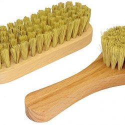 DELARA Piccola spazzola per le scarpe con setole naturali e spazzola per la crema. Completo di due pezzi. Colore: naturale