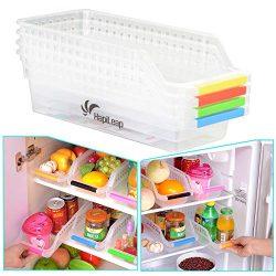 HapiLeap Frigorifero Durable Storage Organizer di Raccolta Cestino da Cucina con Supporto, Contenitore (4 Pack)
