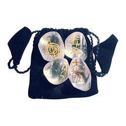 4cristallo di rocca pietre tamburo con Usui Reiki simboli