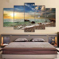 xcycwyf Quadro su Tela Immagini Cornice Cucina Ristorante Decor 5 Pezzi Tramonto Paesaggio Animale Gabbiano Spiaggia Soggiorno Stampa Poster-40x60cm_40x80cm_40x100cm