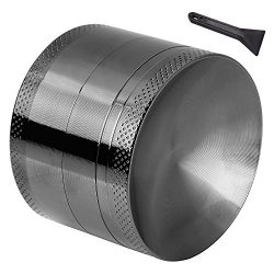 Anpro Macinaspezie Manuale – Macinapepe Smerigliatrice in Alluminio con setaccio e Piano Magnetico per Erba secca e Tabacco con la Migliore qualità – 4 Pezzi da 2,15 Pollici