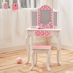 Fashion Prints TD-11670F Set da Tavola e Sgabello, Legno, Pink & White, 59.69×29.21×97.79 cm