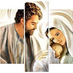 Lupia Quadro Sacro 5 Pezzi in Legno Vogue 66X115 cm Nativity Brown