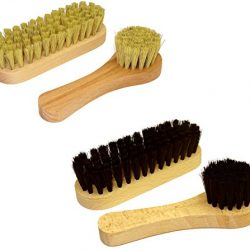 DELARA Set spazzole per le scarpe: piccole spazzole per le scarpe con setole naturali e spazzole per la crema, completo di quattro pezzi