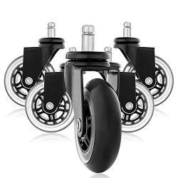 Ruote di ricambio in gomma in stile rollerblade, ruote per sedia da ufficio, rotelle silenziose perfette per pavimenti in legno, tappeti, laminato e piastrelle, set di 5 2