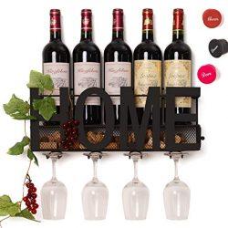 Soduku – Portabottiglie da parete in metallo, per bottiglie di vino, con 4 supporti per bicchieri a stelo lungo e scomparto per i tappi in sughero