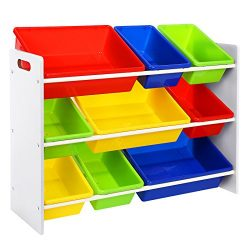 SONGMICS Scaffale Porta Giocattoli per Bambini Organizzatore con 9 Scatole di Plastica Facile da Pulire GKR02W 2