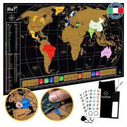 TooPopz Mappa del Mondo da Grattare Mup! – Design Italiano, Grande Poster Planisfero da Parete, Idee Regalo Originali per Viaggiatori, Cartina Geografica Mondo, Travel Map, Scratch Map World 84x44cm