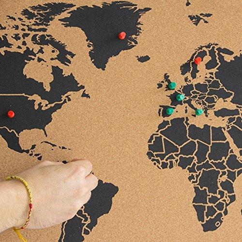 Cartina Mondo In Sughero.Miss Wood Map Xl Mappa Del Mondo Di Sughero 60 X 90 Cm Naturale Nero Tod Casa
