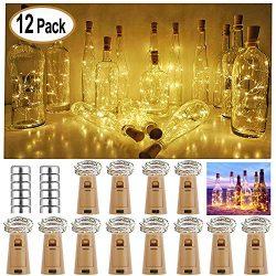 Nurkoo – Set di 12 luci a LED in sughero, per bottiglie di vino, 2 m, 20 LED, a batterie decorative in rame, per matrimonio, Natale, festa, casa, esterno, giardino, (bianco caldo)